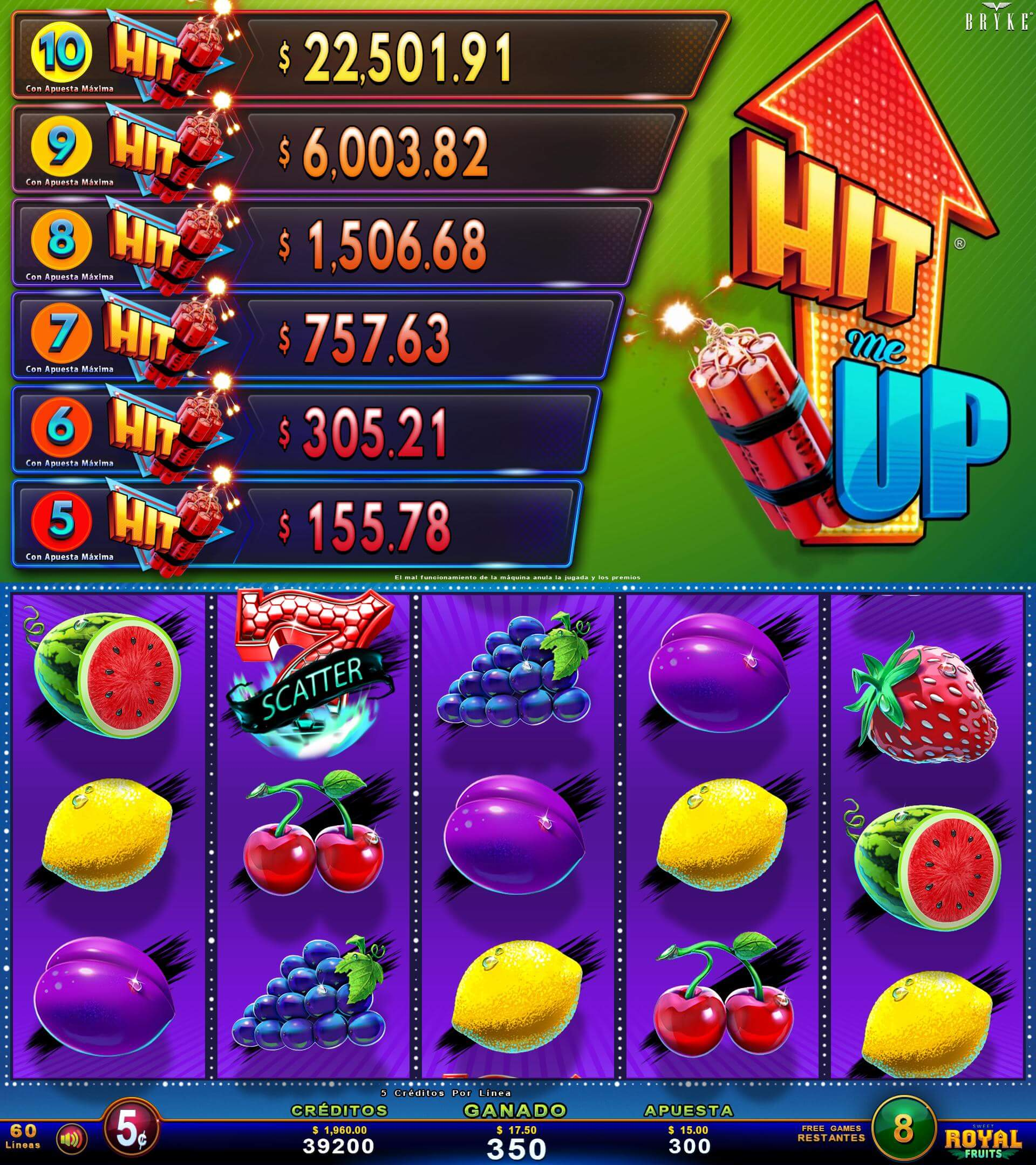 Royal Fruits - Hit Me Up -Multigame LAP