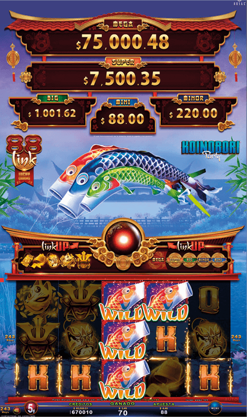 Video Slot - Multigame LAP with SynchroScreens - 88 Link Lucky Charms - Koinobori Party