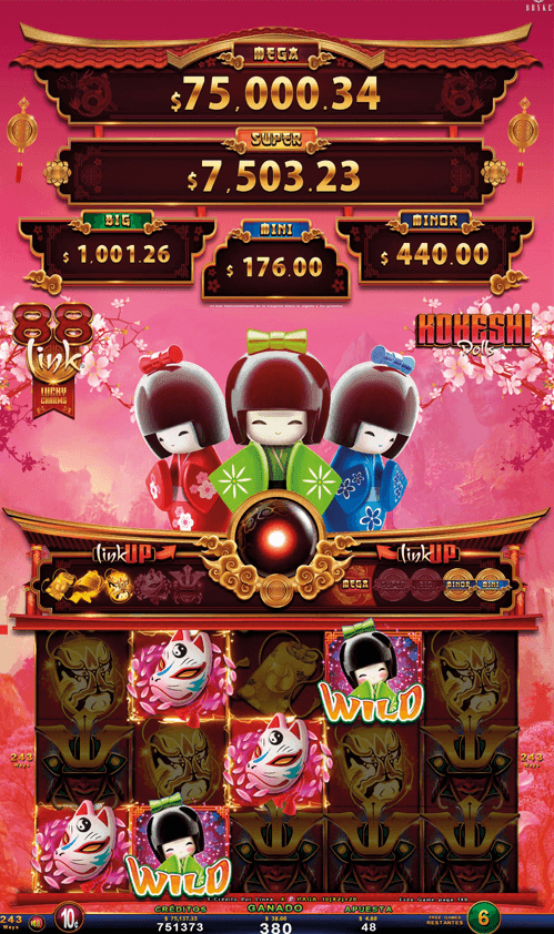 Video Slot - Multigame LAP with SynchroScreens - 88 Link Lucky Charms - Kokeshi Dolls