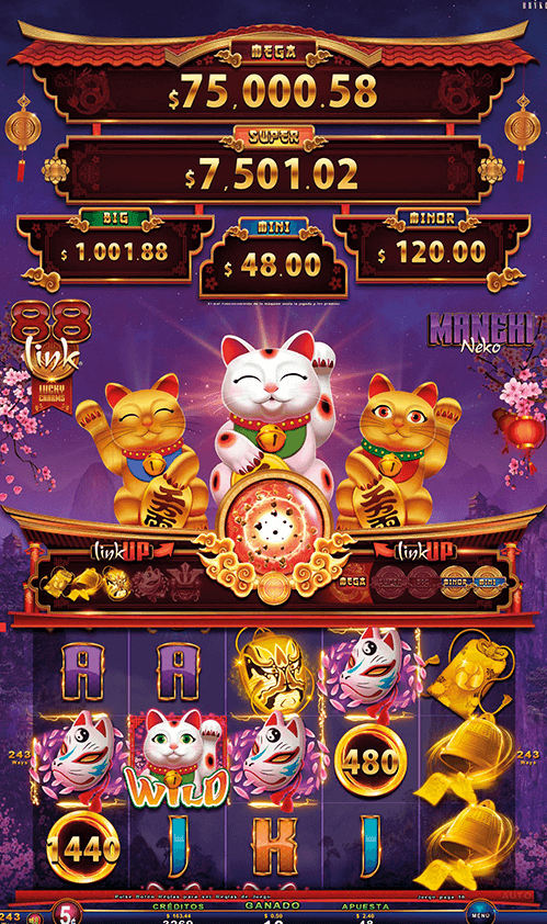 Video Slot - Multigame LAP with SynchroScreens - 88 Link Lucky Charms - Maneki Neko