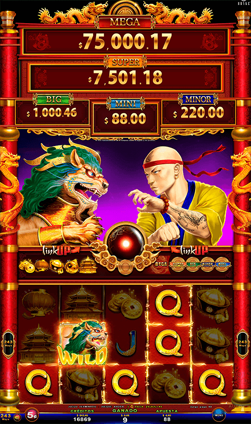 Video Slot - Multigame LAP with SynchroScreens - 88 Link Wild Duels - Lion VS Shaolin Monk