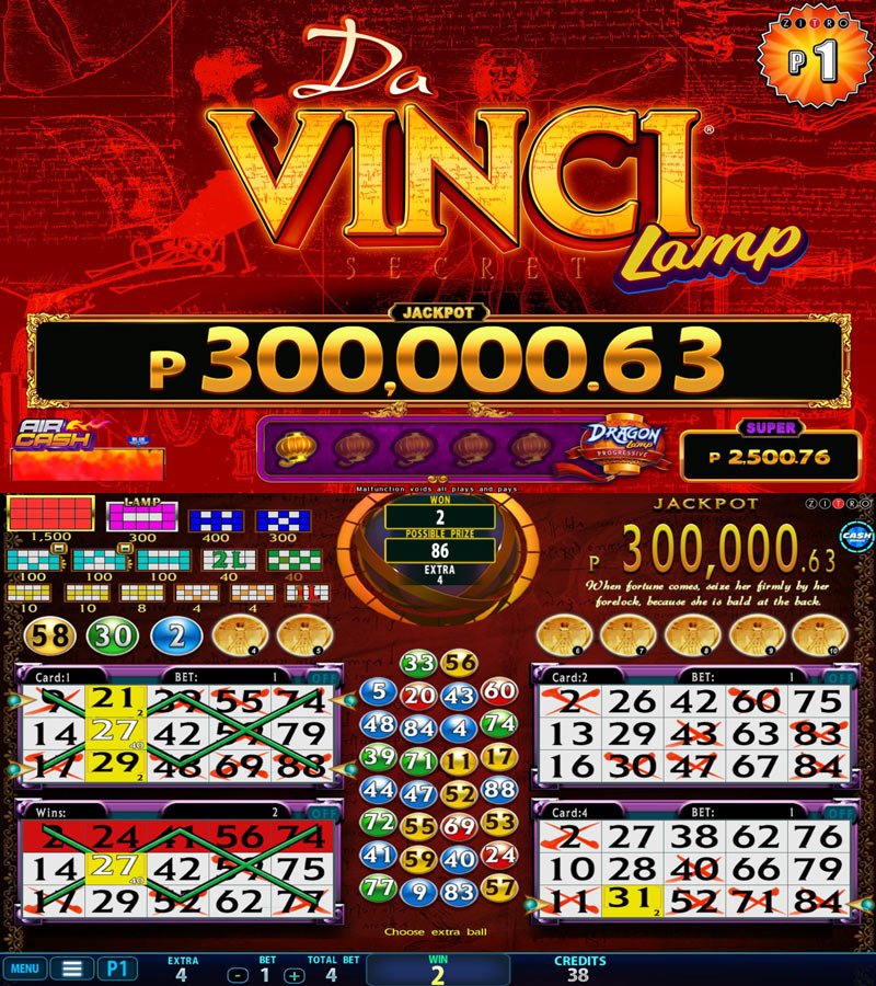 Video Bingo - Da Vinci Lamp